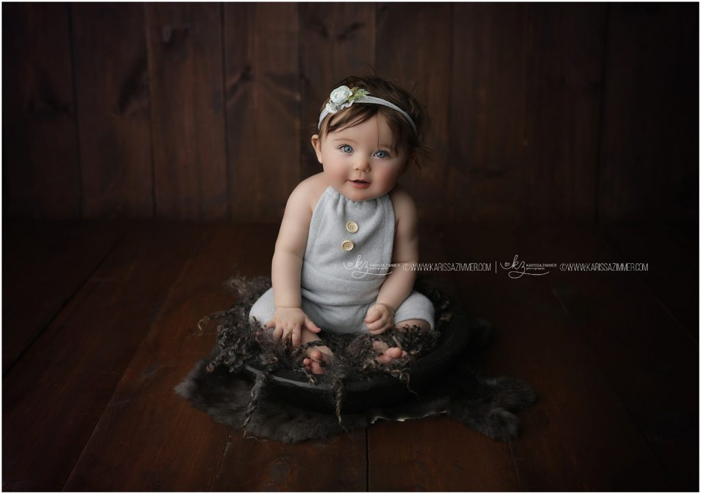6 month old baby girl photographed by Karissa Zimmer in Mechanicsburg PA