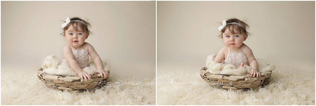 baby girl photographed on white by Karissa Zimmer Photography