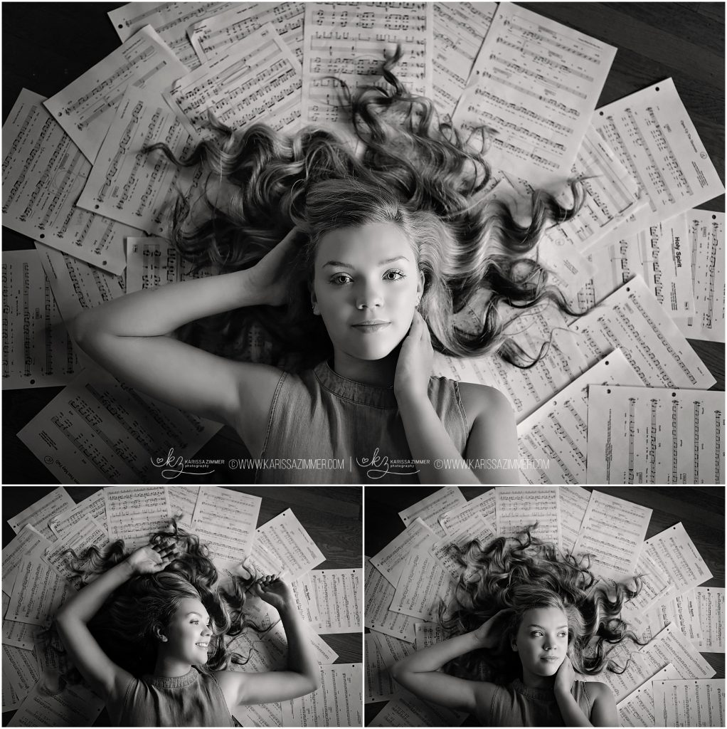 high senior girl photographed with sheet music in hummelstown pa