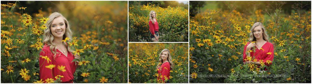 high school senior girl photographed in field of flowers near hershey pa