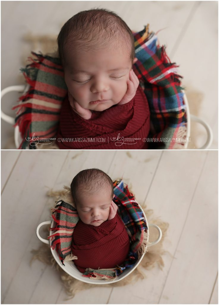 newborn boy snuggled up in red plaid during newborn photography session with karissa zimmer