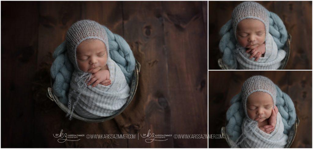 Baby boy photographed in blue by newborn photographer karissa zimmer