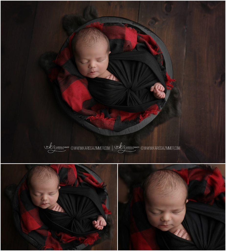 Newborn photographed in plaid fall colors near york pa