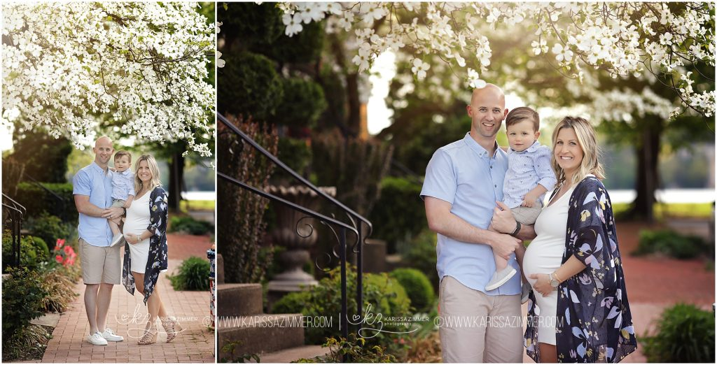 family photographed in the spring at outdoor maternity session in camp hill pa