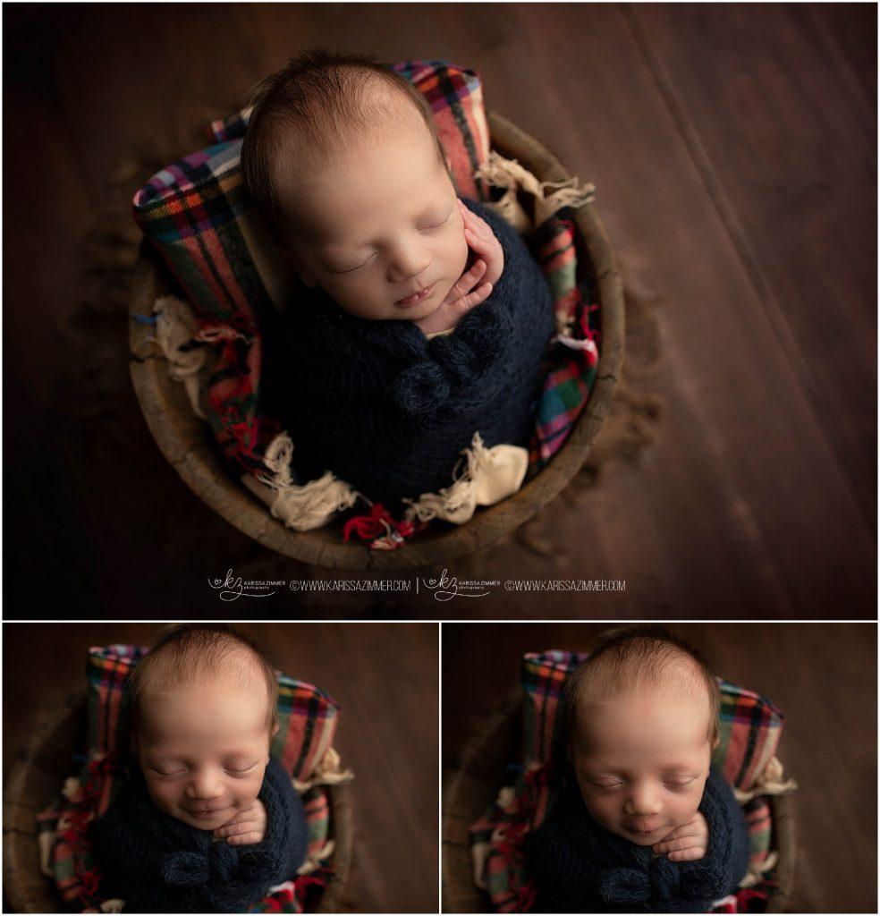 karissa zimmer photography photographs newborn baby boy on plaid