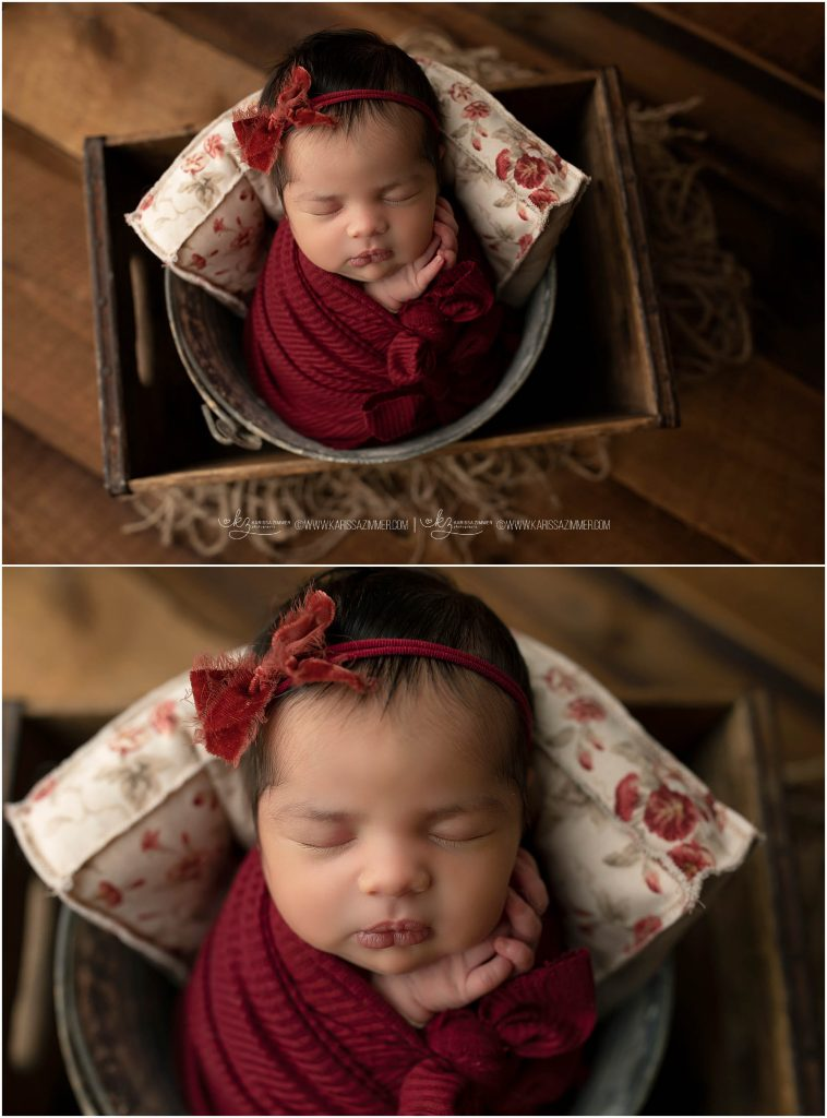 camp hill newborn photographer karissa zimmer photography captures image of baby girl in red
