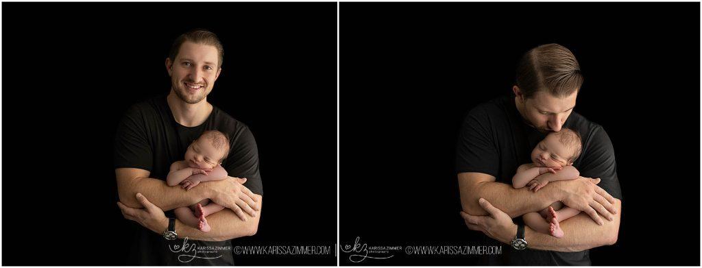 newborn photographer karissa zimmer photographs new father with baby boy at his newborn photography session in camp hill pa