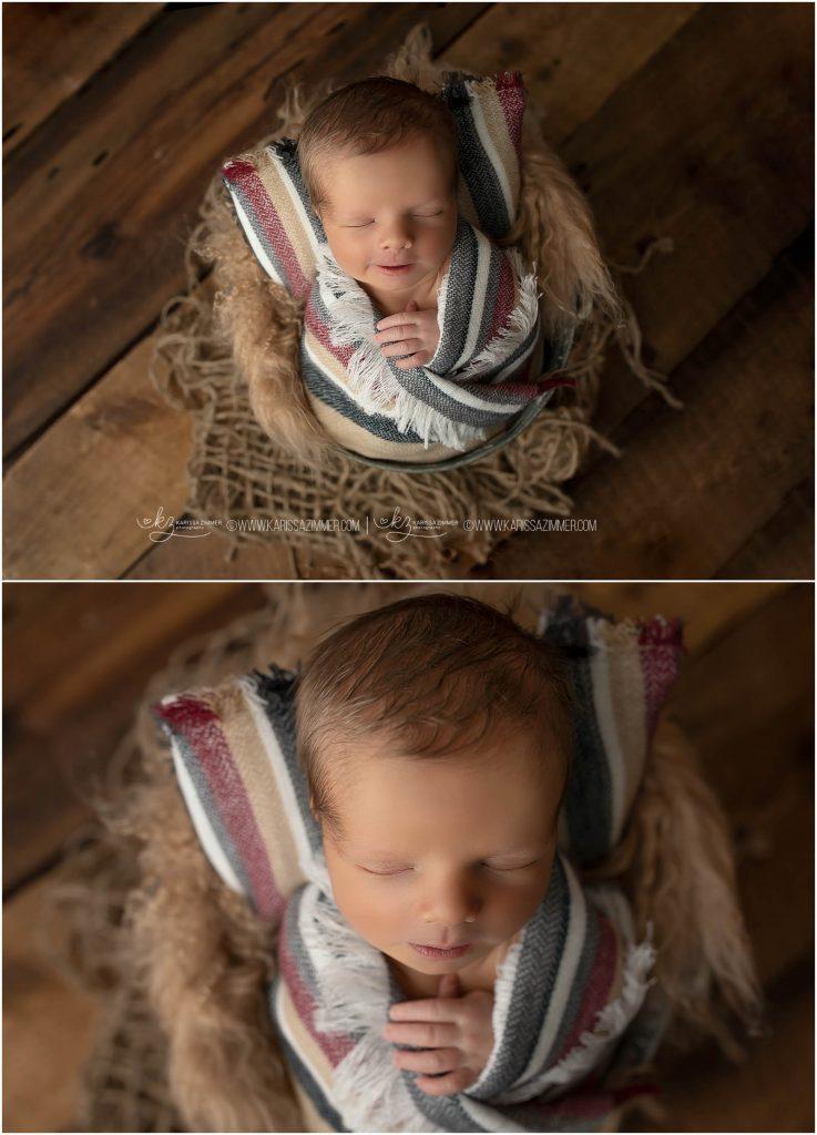 baby posed in bucket at newborn photo shoot