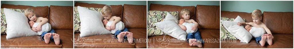 camp hill newborn photographer captures baby boy and big brother during sibling add on lifestyle photo session